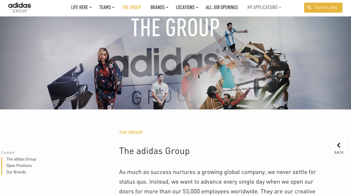 adidas group global career site screenshot